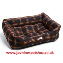 Dog Box Bed Polyester - Black Gold Tartan