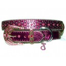 Jewelled Amethyst Leather Collar