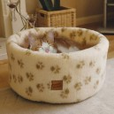 Cat Cosy Bed Paw Print Cream